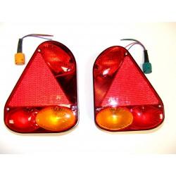 Feux triangulaires la paire avec prises de raccordement et ampoules