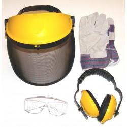 Visière relevable, casque anti-bruit et gants