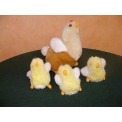 Poule et 3 poussins