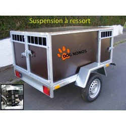 Remorque transport chien suspension à ressorts 3 boxes