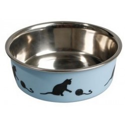 Gamelle inox bleu motif chat